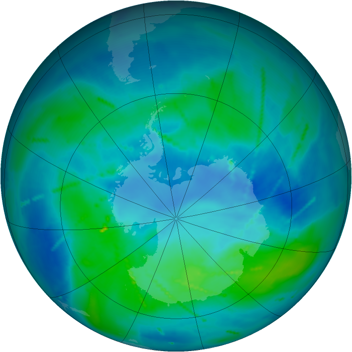 Antarctic ozone map for 05 March 2011