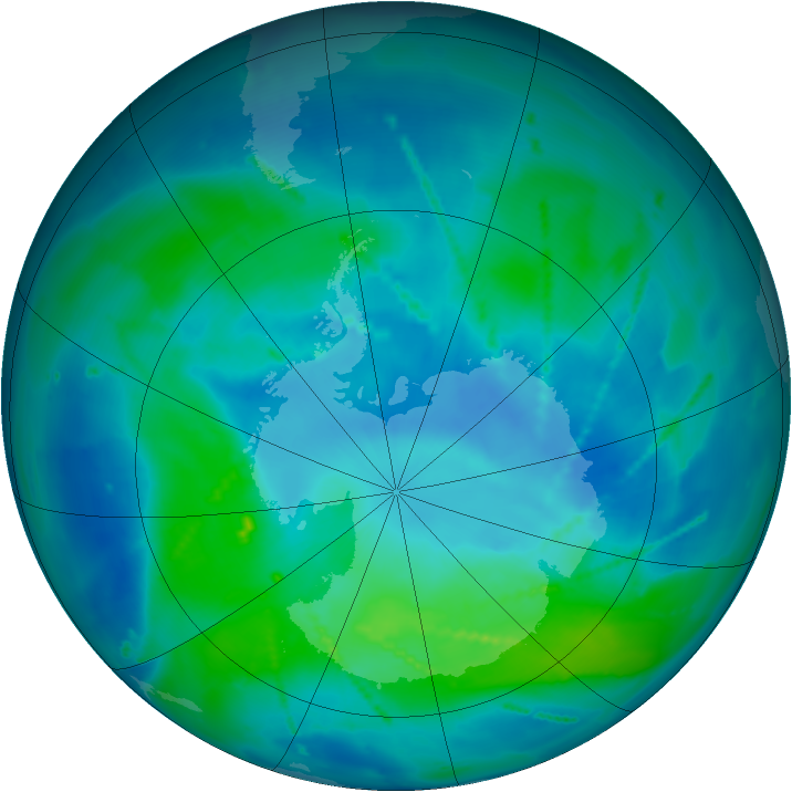 Antarctic ozone map for 06 March 2011