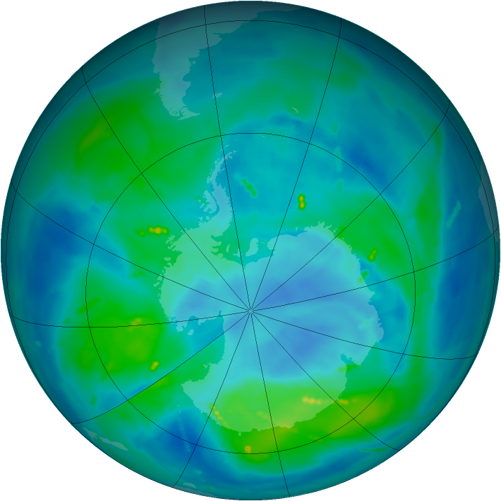 Antarctic ozone map for 20 March 2011