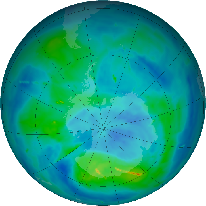 Antarctic ozone map for 21 March 2011
