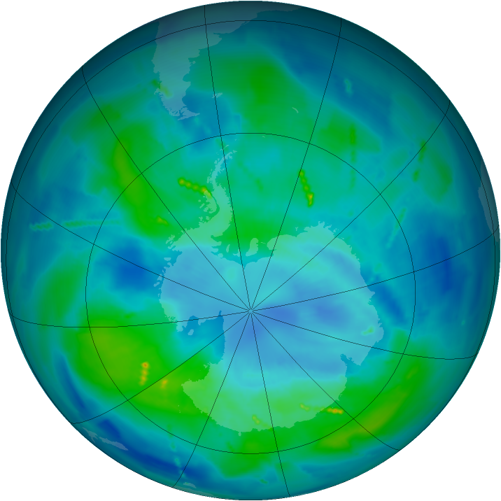Antarctic ozone map for 24 March 2011