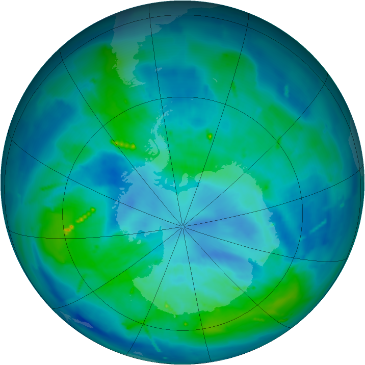 Antarctic ozone map for 25 March 2011