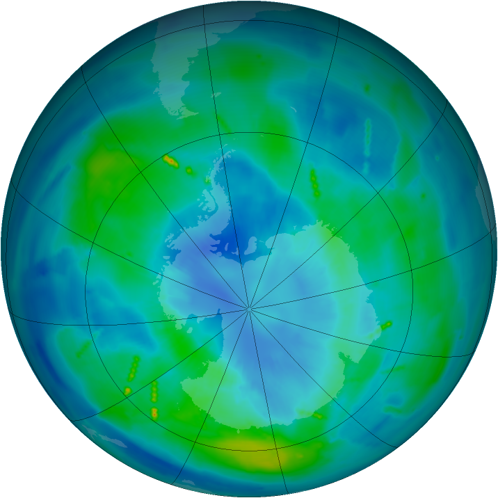 Antarctic ozone map for 28 March 2011
