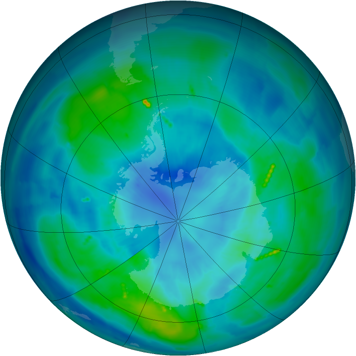 Antarctic ozone map for 29 March 2011