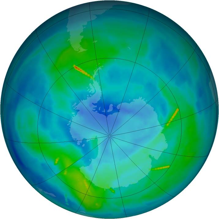 Antarctic ozone map for 30 March 2011