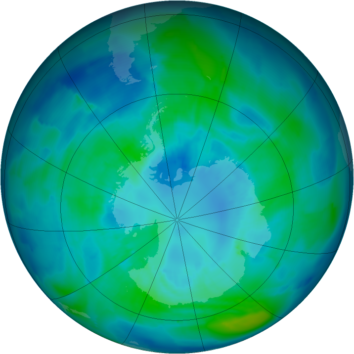 Antarctic ozone map for 05 April 2011