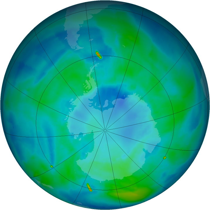 Antarctic ozone map for 06 April 2011