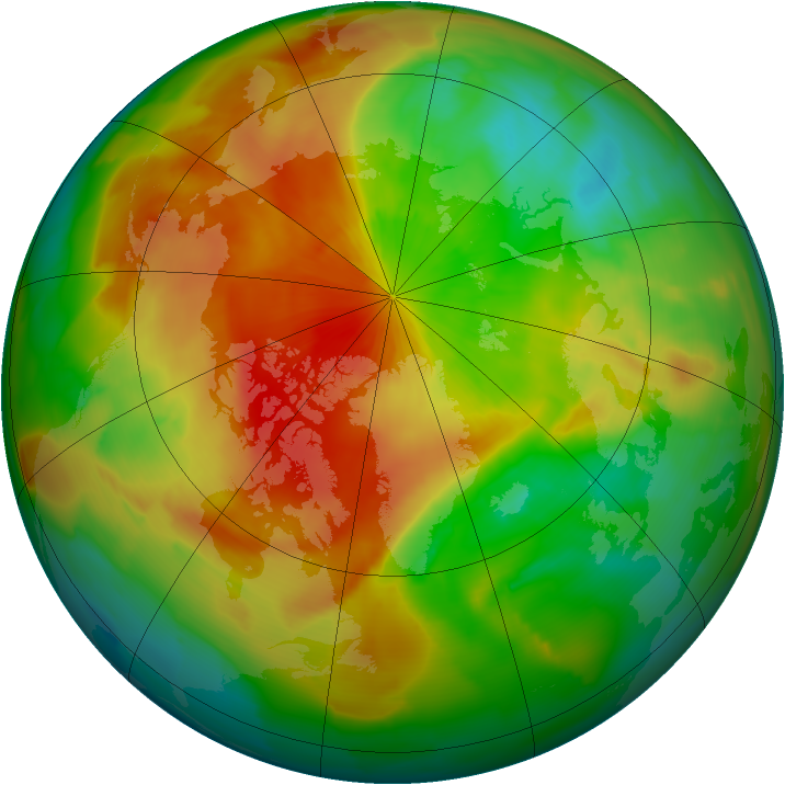 Arctic ozone map for 08 April 2011