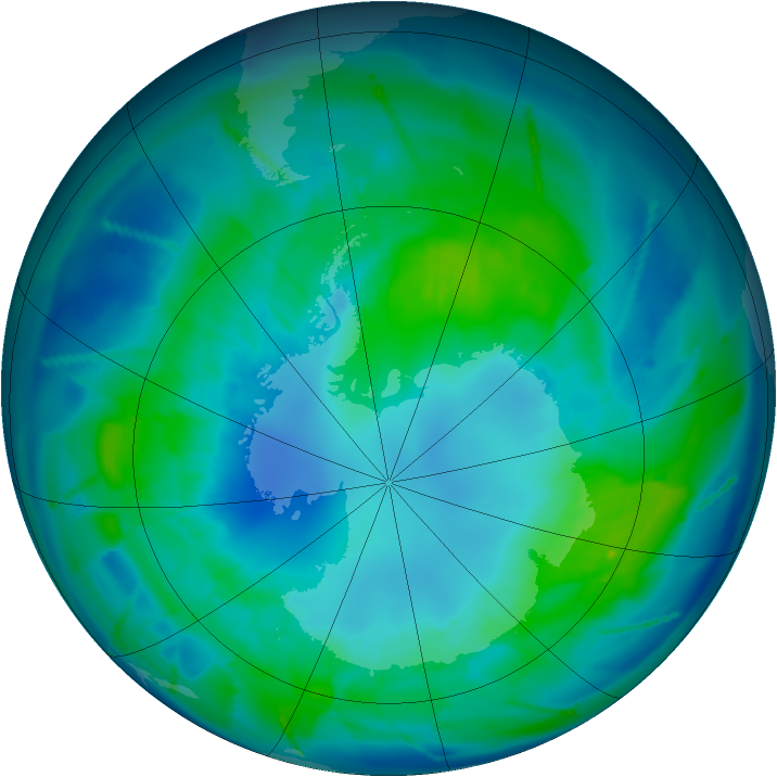 Antarctic ozone map for 16 April 2011
