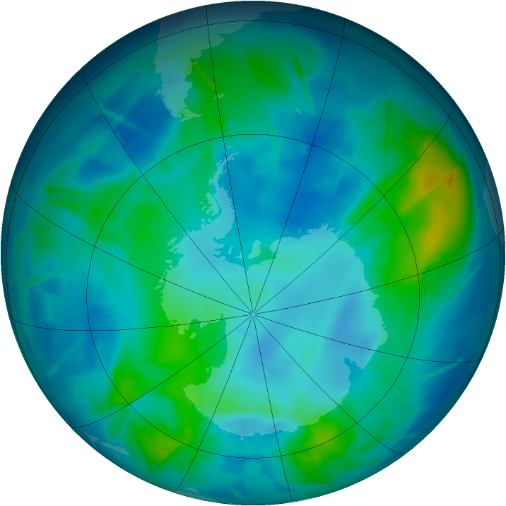 Antarctic ozone map for 24 April 2011