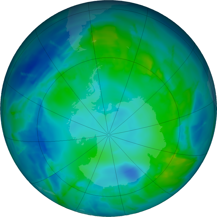 Antarctic ozone map for 05 May 2011