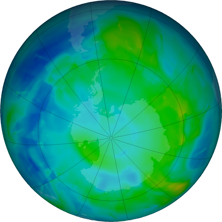 Antarctic ozone map for 06 May 2011