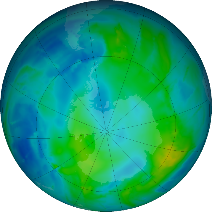 Antarctic ozone map for 08 May 2011