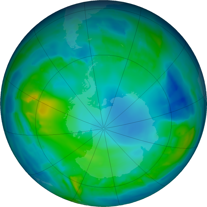 Antarctic ozone map for 11 May 2011