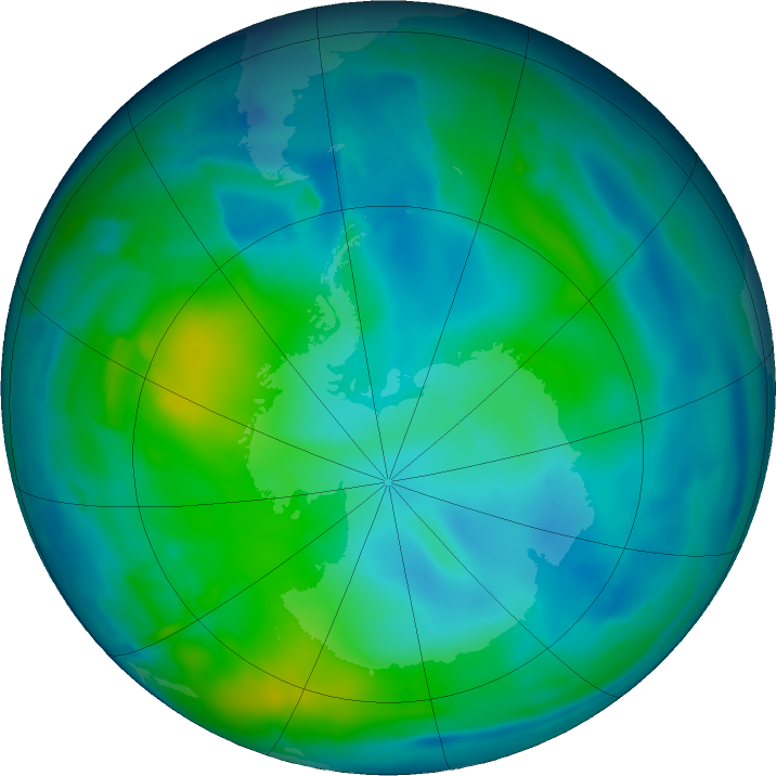 Antarctic ozone map for 14 May 2011