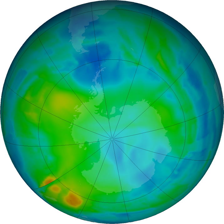 Antarctic ozone map for 15 May 2011