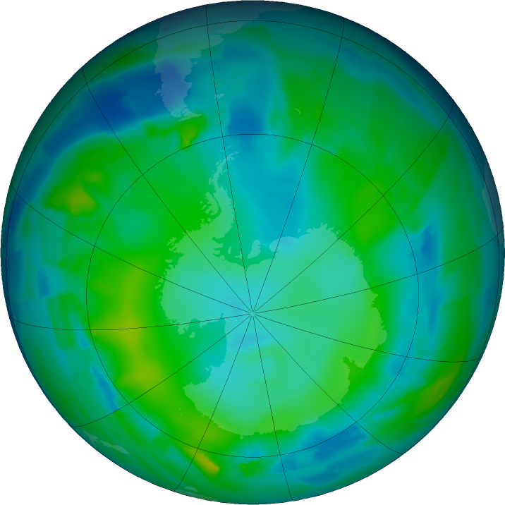 Antarctic ozone map for 23 May 2011
