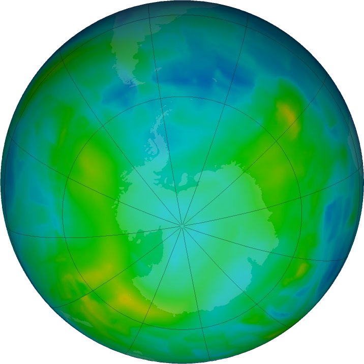 Antarctic ozone map for 28 May 2011