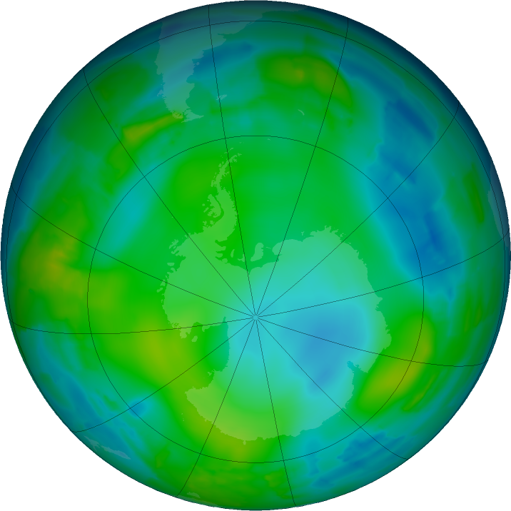 Antarctic ozone map for 04 June 2011
