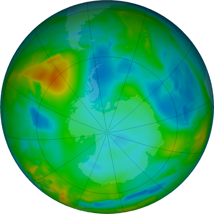 Antarctic ozone map for 07 July 2011