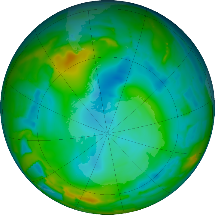 Antarctic ozone map for 08 July 2011