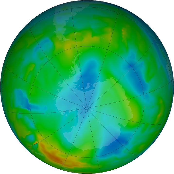 Antarctic ozone map for 09 July 2011