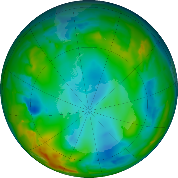 Antarctic ozone map for 10 July 2011