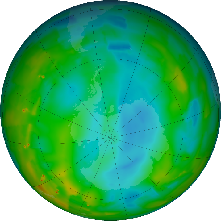 Antarctic ozone map for 12 July 2011