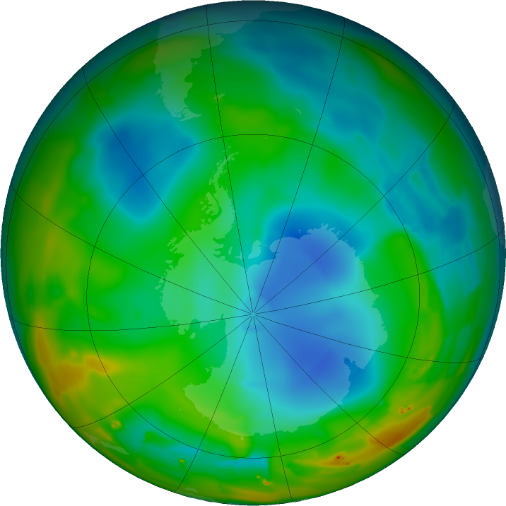 Antarctic ozone map for 16 July 2011