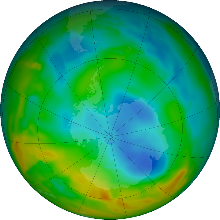 Antarctic ozone map for 17 July 2011