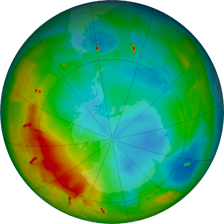 Antarctic ozone map for 22 July 2011