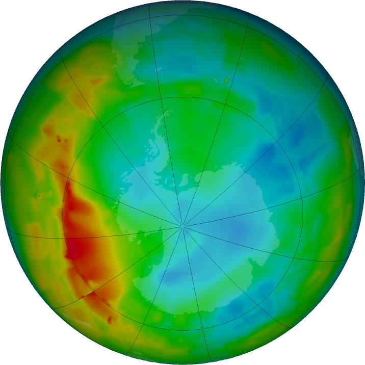 Antarctic ozone map for 24 July 2011