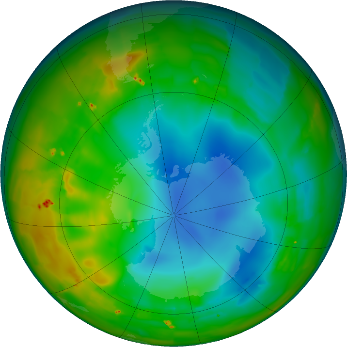 Antarctic ozone map for 27 July 2011