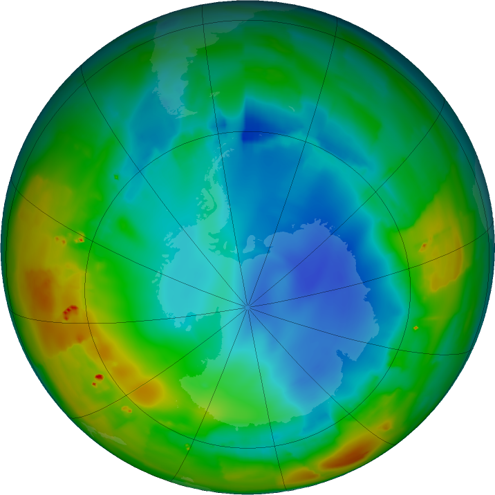 Antarctic ozone map for 30 July 2011