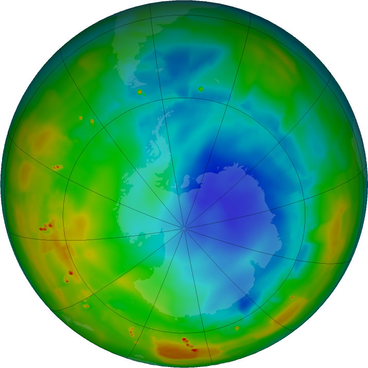 Antarctic ozone map for 01 August 2011