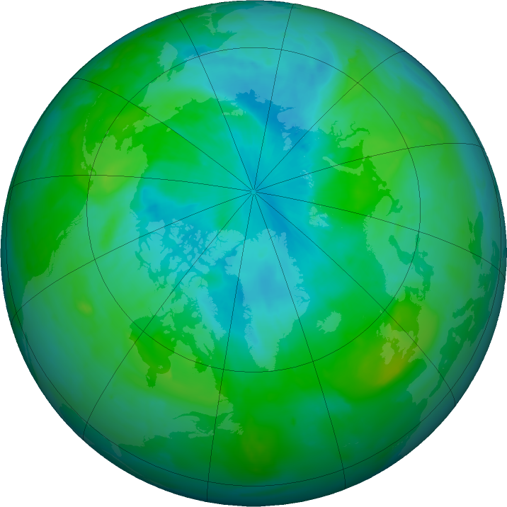 Arctic ozone map for 07 August 2011