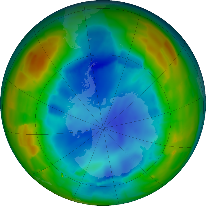 Antarctic ozone map for 09 August 2011