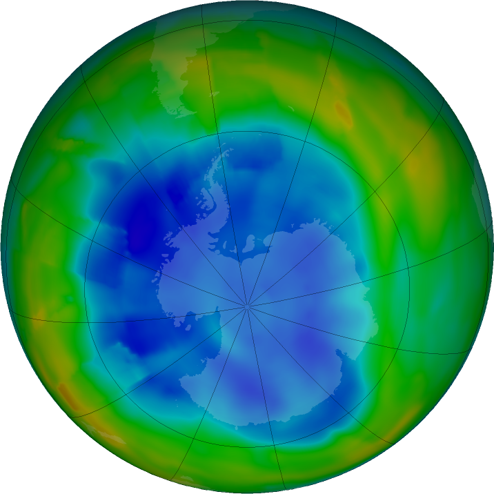 Antarctic ozone map for 18 August 2011