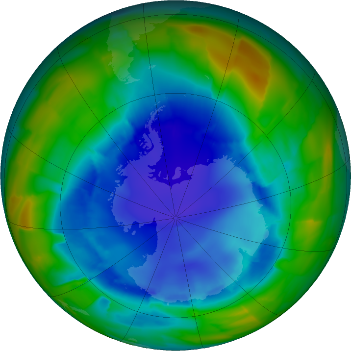 Antarctic ozone map for 22 August 2011