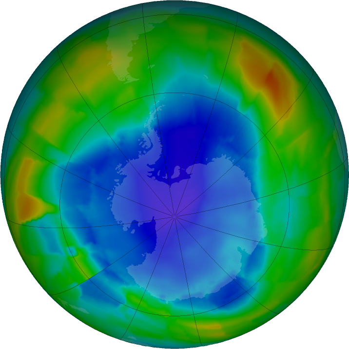 Antarctic ozone map for 23 August 2011