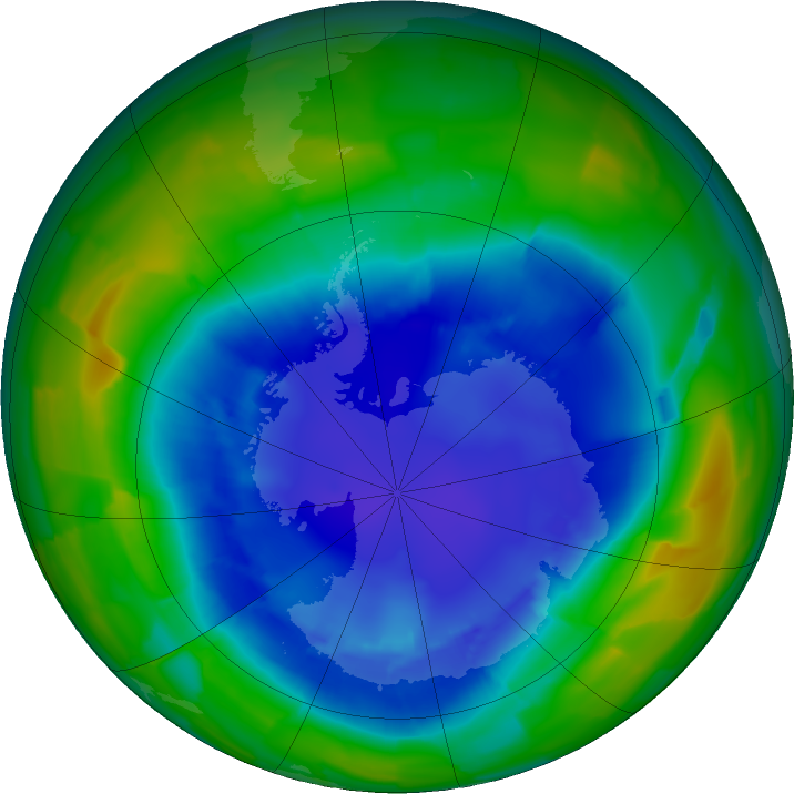 Antarctic ozone map for 28 August 2011