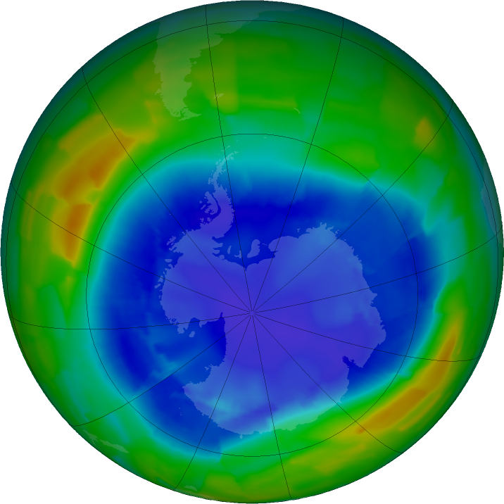 Antarctic ozone map for 29 August 2011