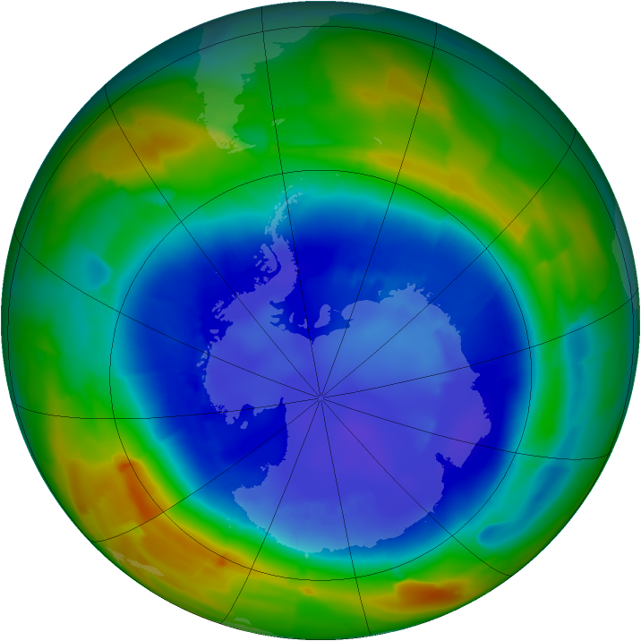 Antarctic ozone map for 01 September 2011