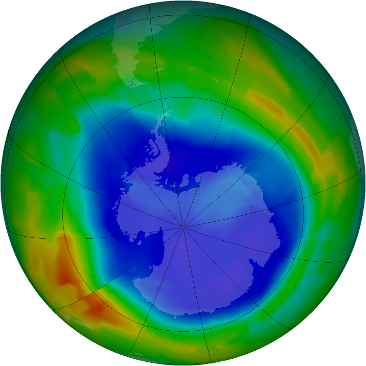 Antarctic ozone map for 02 September 2011