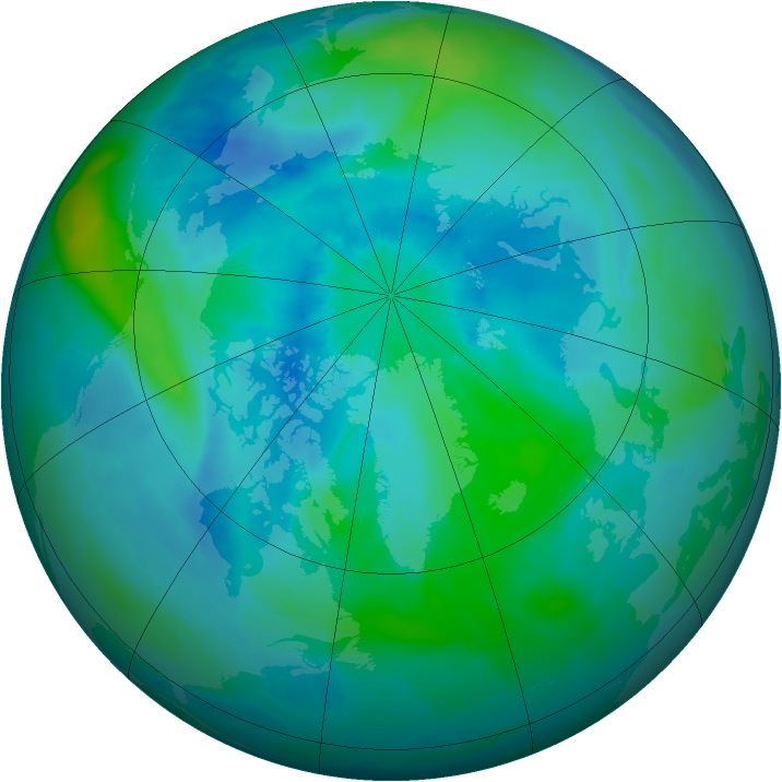 Arctic ozone map for 09 September 2011