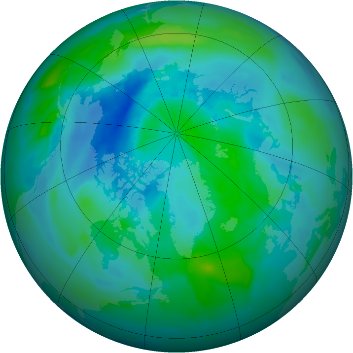 Arctic ozone map for 12 September 2011
