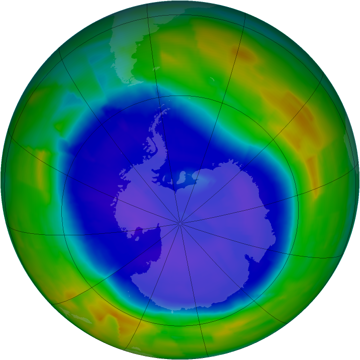 Antarctic ozone map for 12 September 2011