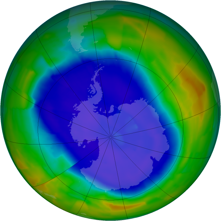 Antarctic ozone map for 13 September 2011