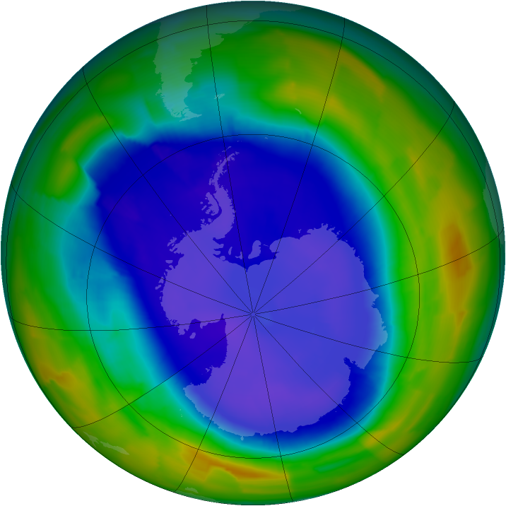 Antarctic ozone map for 14 September 2011