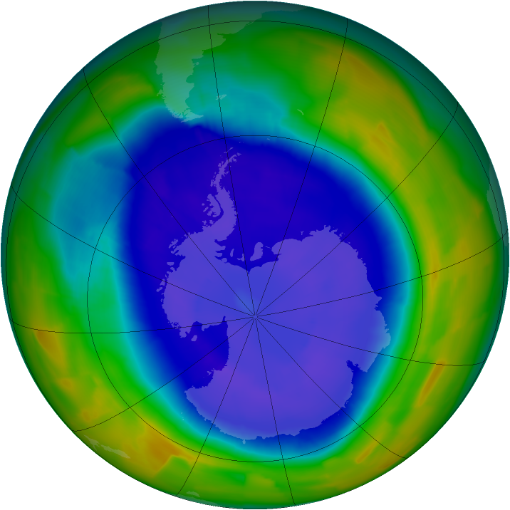 Antarctic ozone map for 15 September 2011
